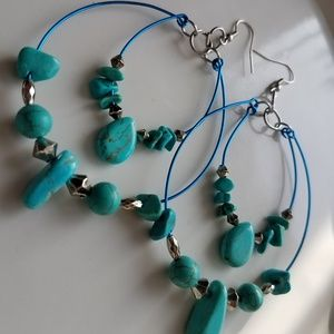 Jewelry - turquoise double hoop statement beaded earrings
